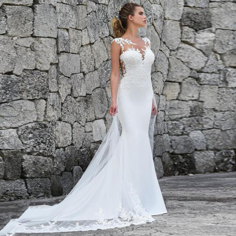 Thinyfull 2019 Sexy Mermaid Sheer Illusion Back Lace Appliques Wedding Dress Bridal Gown vestido de noiva Custom Made