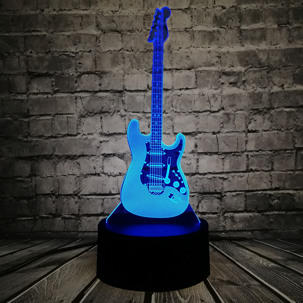 new arrival music cool guitar bass 3d led lamp night light for musicians home table decoration. Black Bedroom Furniture Sets. Home Design Ideas