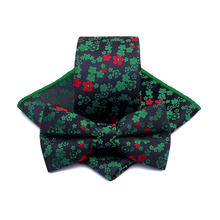 цена на Korean Silk Bridegroom Business Men Tuxedo Suit Black Green Yellow Flower Pocket Square Towel Handkerchief Necktie Bow Tie Set