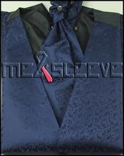 free shipping navy men's waistcoat wedding dress (vest+ascot tie+handkerchief+cufflinks)