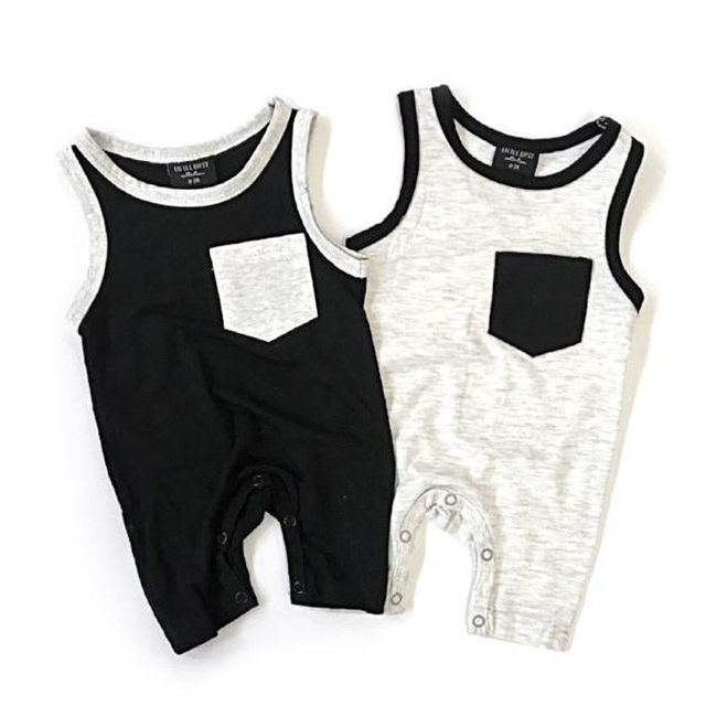 Emmababy Newborn Baby Girl Boy Pocket Sleeveless Romper Jumpsuit Outfits Clothes Spring Summer Clothing Gifts 3
