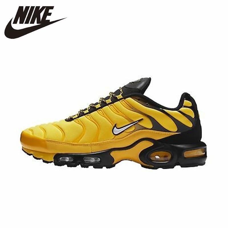Nike TN Air Max Plus fréquence Pack Original jaune noir hommes chaussures de course confortable sport léger baskets # AV7940-700