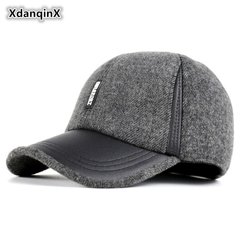 Winter Men's Hat New Imitation Wool Warm Baseball Cap Woolen Thicker Padded Earmuffs Simple Fashion Snapback Duck Tongue Caps princess hat skullies new winter warm hat wool leather hat rabbit hair hat fashion cap fpc018