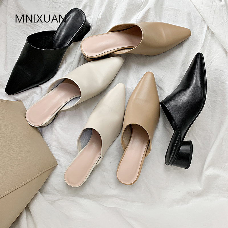 MNIXUAN Handmade comfortable women mules shoes 2019 spring new genuine leather retro square toe medium heels