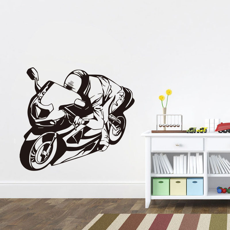 Sports Bike Driver Vinyl Wall Sticker For Kids Rooms Removable Adhesive Art Wallpaper