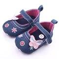 Hermosa Mariposa Denim Material de Gancho y Bucle Superficial Zapatos Del Bebé Para 0-15 M