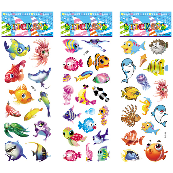 12 Sheets/pack Kids Stickers Toy Creative Cute Seabed Animals Fishes PVC Sticker for DIY Scrapbooking Diary Phone Stickers 5