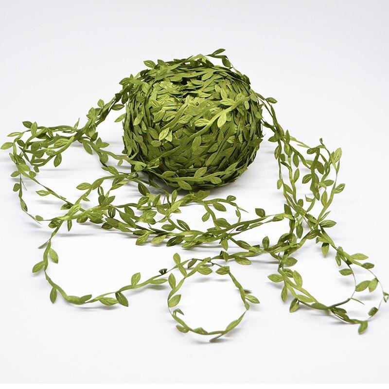 Зеленая Шелковая гирлянда листья из ротанга, 20 метров, искусственный венок «сделай сам», свадебное украшение, подарок, скрапбукинг, рукодел...