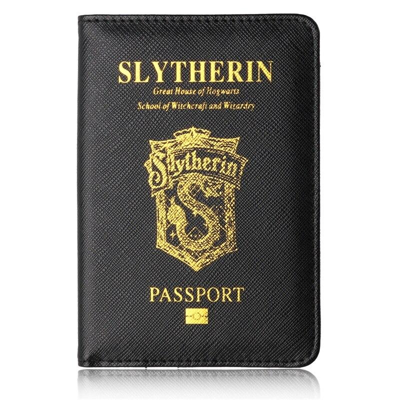 New Black SLYTHERIN Hogwarts Unisex PU Leather Passport Holder Rfid Passport Cover Black Travel Passport Protection Card Holder