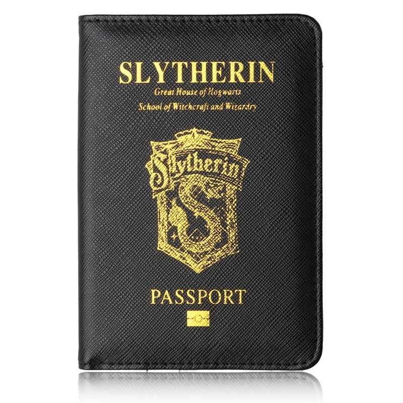 Novo preto slytherin hogwarts unisex couro do plutônio passaporte titular rfid capa de passaporte preto viagem passaporte proteção titular do cartão