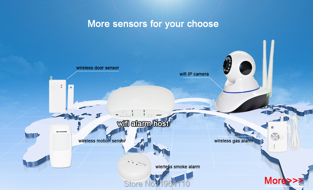 Super Mini WIFI Home Security Alarm System DIY Kit IOSAndroid Smart Phone App PIR Main Panel DoorWindow Sensor Burglar Alarm_F5