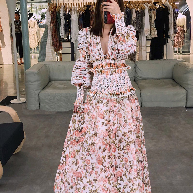 2018 새로운 도착 가을 여자 드레스 럭셔리 브랜드 활주로 유럽 디자이너 꽃 프린트 프릴 레이스 블라우스 세트 파티 리조트 드레스-에서드레스부터 여성 의류 의  그룹 3