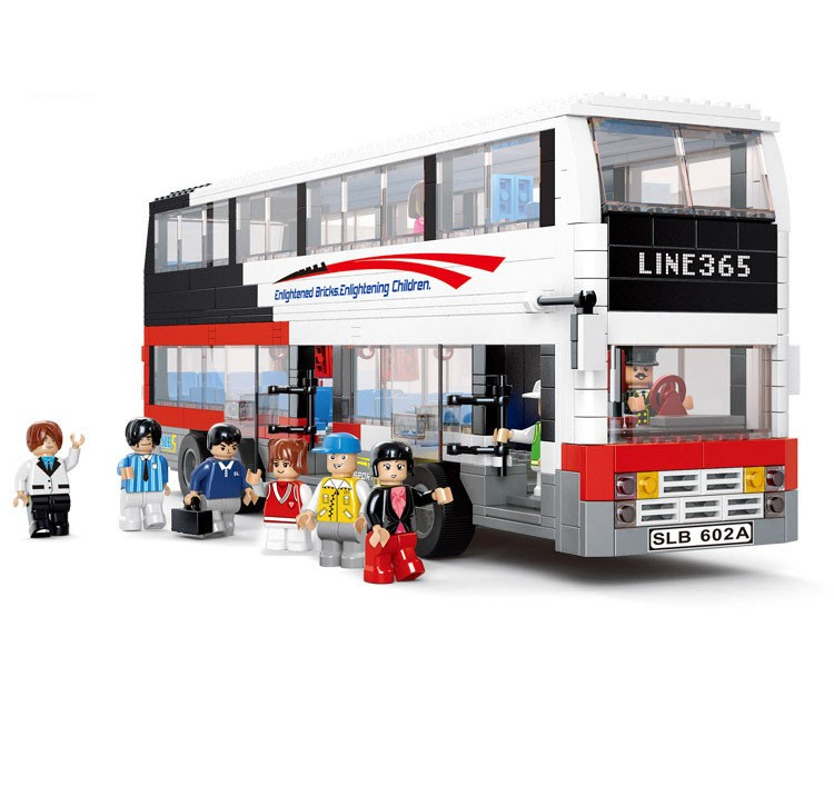 Sluban Deluxe Double Tour Bus Building Blocks DIY Educational Toys For Children Gifts Bricks Compatible With Legoe 741PCS 2016 new sluban 0502 building blocks 415pcs diy creative bricks toys for children educational bricks brinquedos legeod