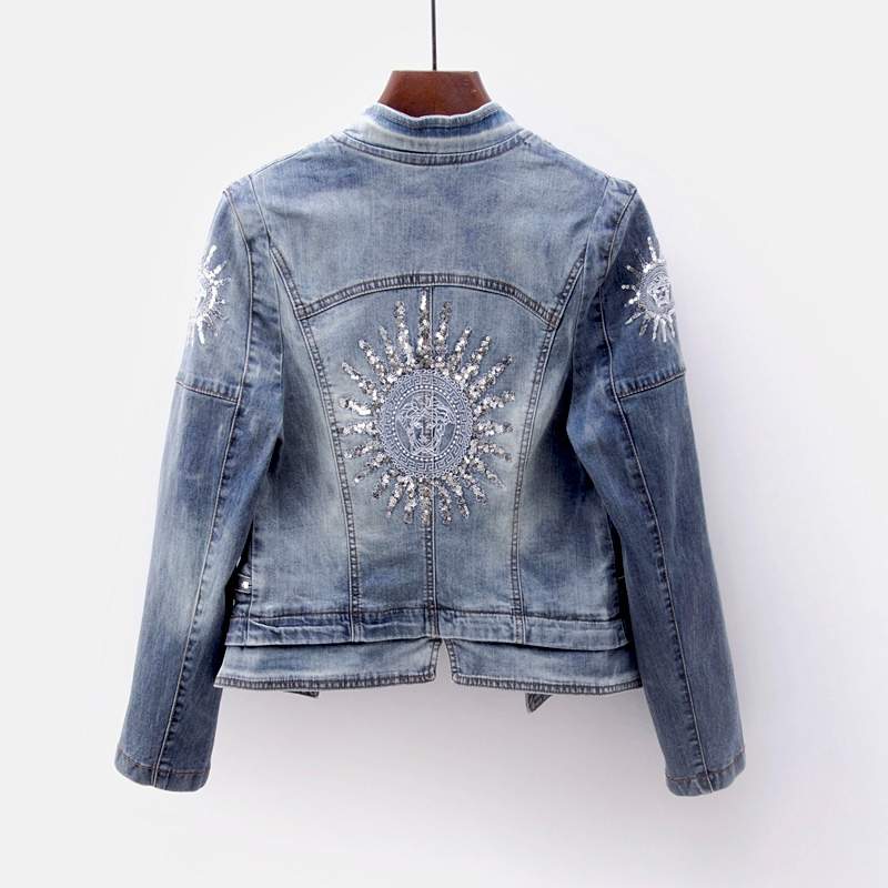 Coréenne Veste Survêtement Décontracté Jeans Base Blue Dark Taille Slim light Blue De Printemps Broderie Sequin Denim Manteau Femmes Zipper Grande Automne YE4BBxq