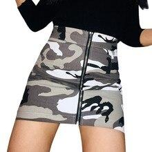 5d4547dd3 New 2018 Women Zipper Camouflage High Waist Mini Skirt Sexy Short Printed  Short Denim Skirts