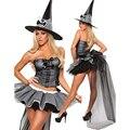 Halloween Bruxa Traje Cospaly Fancy Dress Adulto cap conjuntos de saia do espartilho Das Mulheres Carnaval Traje Sexy traje menina quente do Dia Das Bruxas