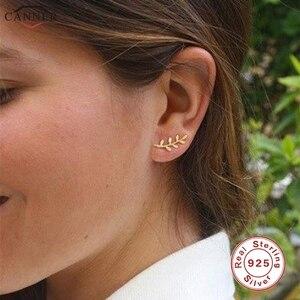 CANNER Gold Color Leaf Stud Earrings for Women Girls Korean 925 Sterling Silver Earrings 2019 Delicate Mini Earings Jewelry H40