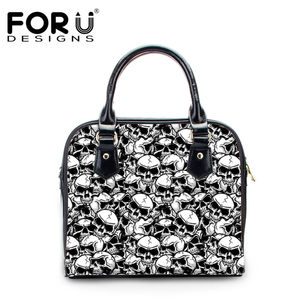 FORUDESIGNS Cool Skull Design Women Cross Body Bags Fashion Girls PU Leather Tote Shoulder Bags Handbags for Ladies Female 2017 luxury chinese style women handbag embroidery ethnic summer fashion handmade flowers ladies tote shoulder bags cross body bags
