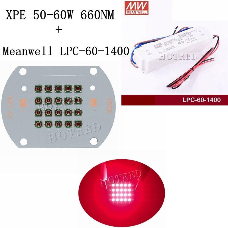 1 ensemble CREE XPE XP-E 50 W 60 W plante grandir lumière LED Diode émetteur lumière rouge profond 660nm intérieur jardin plante + Meanwell LPC 1400 pilote
