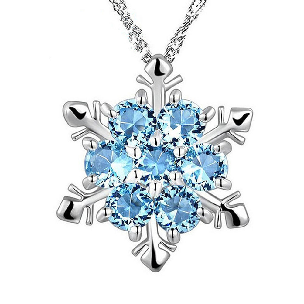 Fashion Women Crystal Zircon Snowflake Pendant Necklace Jewelry Christmas New Year Gifts AIC88