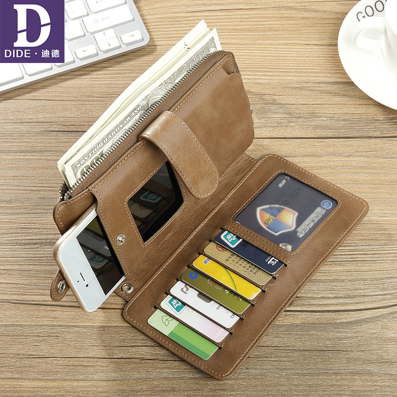 DIDE high quality Genuine Leather men Wallets Luxury Brand Cell Phone Clutch bag male Purse Card Holder long wallet 753 contact s 100% genuine leather wallet men long vintage cow leather casual purse brand design high quality wallets cell phone bag