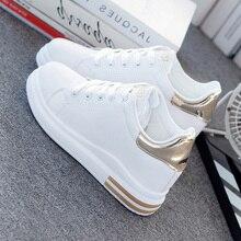 Swyivy Microfiber Giày Dành Cho Nữ Giày Trắng Người Phụ Nữ Mùa Xuân 2020 Nền Tảng Wedge Sneaker Nữ New Nữ Giày