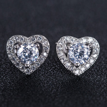 Fashion Cubic Zirconia Heart Earrings for Women White Gold Color Wedding Jewelry Micro Pave CZ Earrings Ladies Gifts Dropshiping недорого