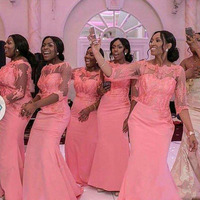 Coral Hot Sale Mermaid African Mermaid Long Bridesmaid Dresses With Half Sleeves Applique Customized Maid Of Honor Gowns