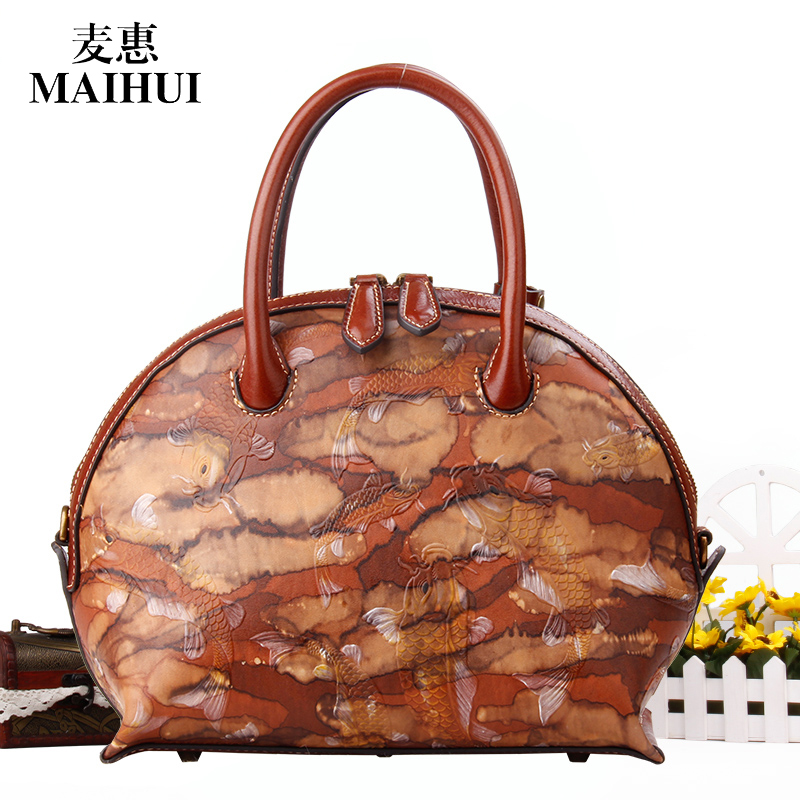 MAIHUI women leather handbags high quality shoulder bags chinese style real cow genuine leather new embossing fish pattern bag maihui designer handbags high quality shoulder crossbody bags for women messenger 2017 new fashion cow genuine leather hobos bag
