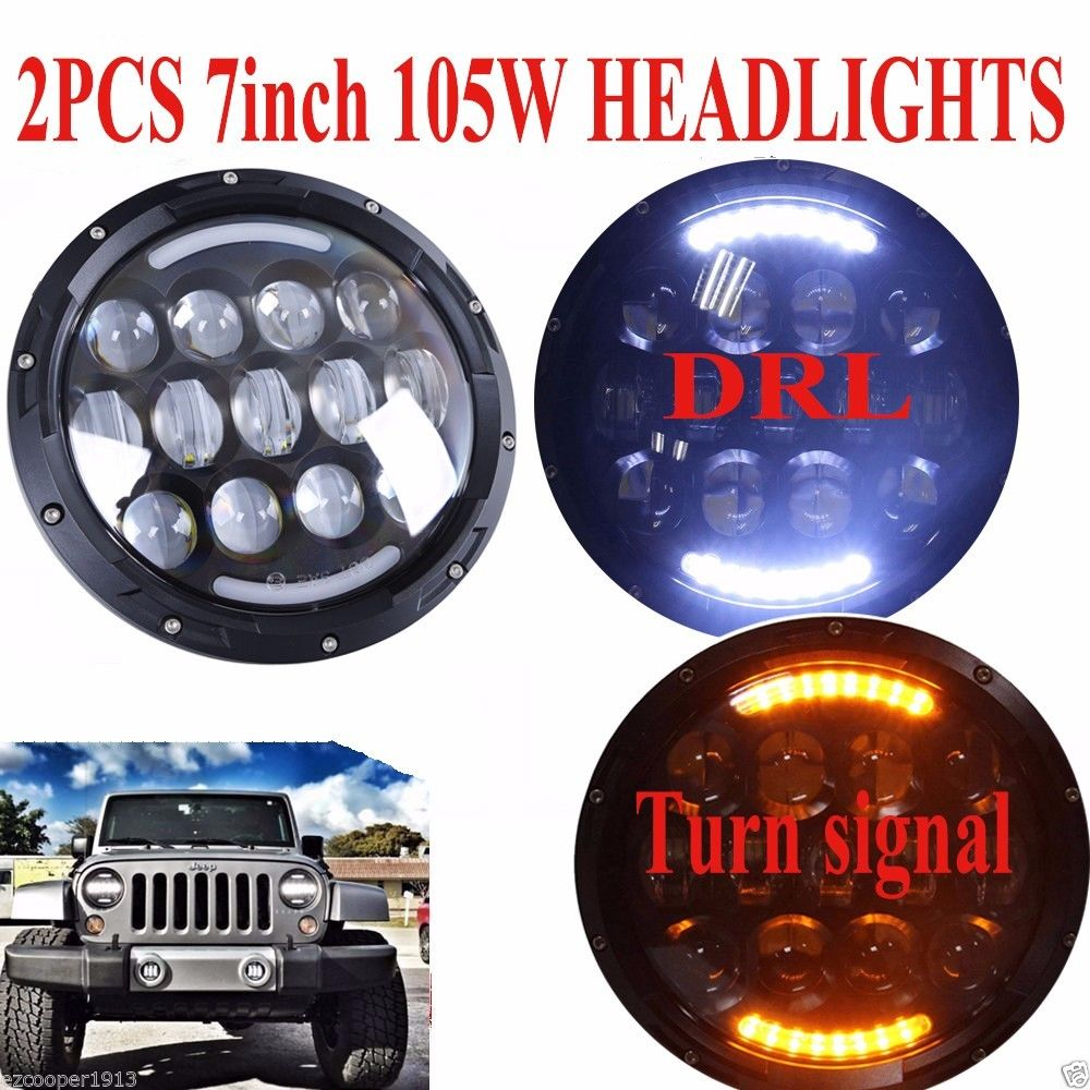 Plug and play 105W 7INCH Black led projector headlights for Jeep Wrangler JK TJ Dodge Chrysler Front Bumper Off Road Lights for jeep wrangler jk anti rust hard steel front
