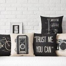 Vintage negro blanco Cámara bicicleta estampado de guitarra de algodón Lino almohada funda decorativa silla de coche sofá decoración del hogar funda de cojín