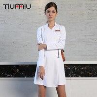 New V Neck Long Sleeve Women Medical Coat Dress Nurse Uniform Medical Scrub Lace Clothes White Lab Coat Hospital Doctor Clothing