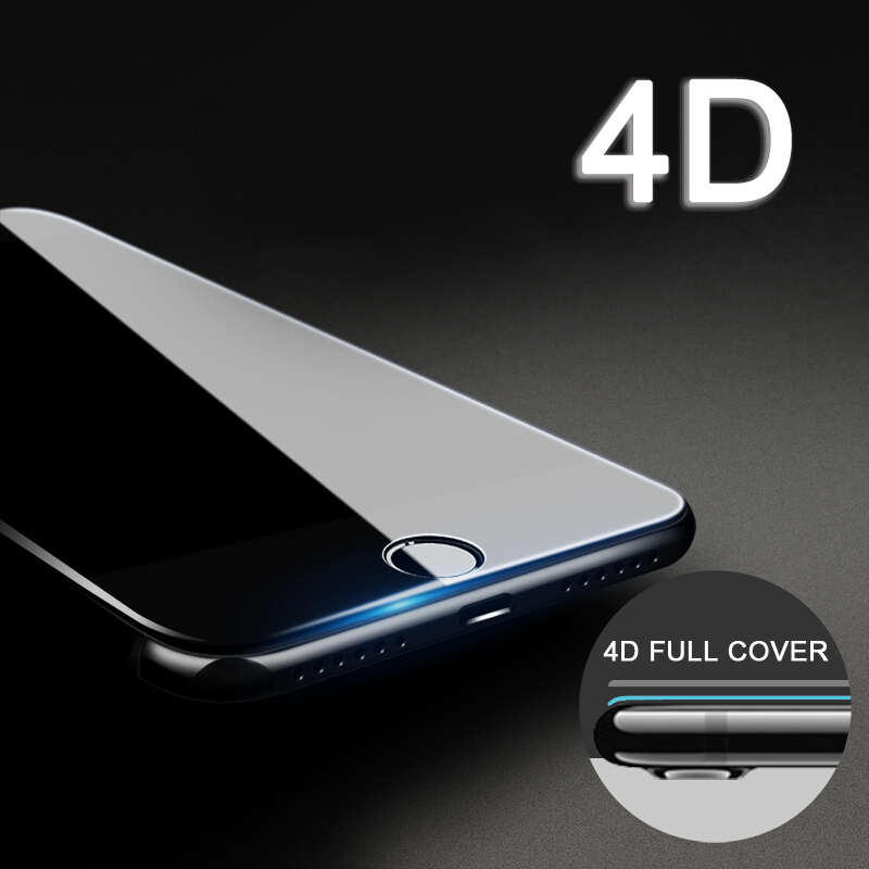 4D GLASS For iPhone 7 6 6s Plus Screen Protector Round Curved Edge Premium Tempered Full Cover for iPhone 7 Plus Protective Film