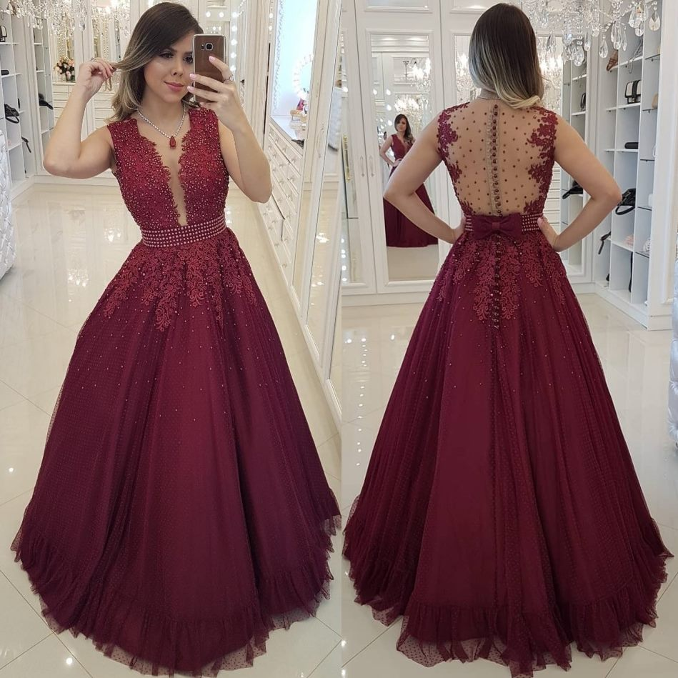 Sexy Backless Burgundy   Prom     Dresses   2019 Elegant Beading Long   Prom   Gowns Back Bow Lace Appliques Button Zipper Party   Dresses