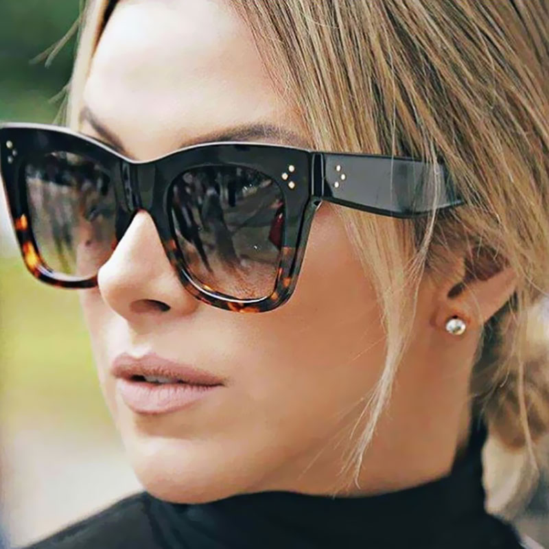 women Cateye Sunglasses Brand Designer Cat Eye Sun Glasses Female Fashion 2017 New Retro Rivet Gradient CATHERINE