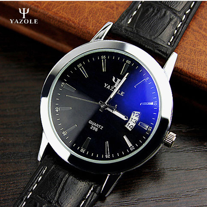 YAZOLE Brand Men s Watches Date Quartz watch Male Clock Leather Wrist Quartz Watch Wristwatch water