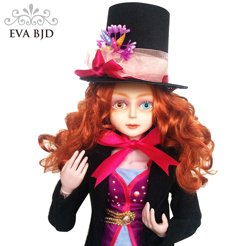 24 Full Set + EVA BJD Mad Man Hatter Cosplay 1/3 BJD Doll SD Doll 60cm 24 jointed dolls Toy Figure + Full Accessories Hat 24 full set bjd doll devil manager men chinese manager ball jointed dolls sd doll toy boyfriend boy gift for boy children