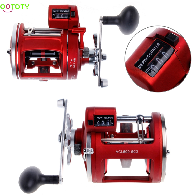 Trolling Counter Fishing Drum Reel 12BB Bearings Baitcasting Fishing Reel Line Wheel Counter Trolling Casting Drum