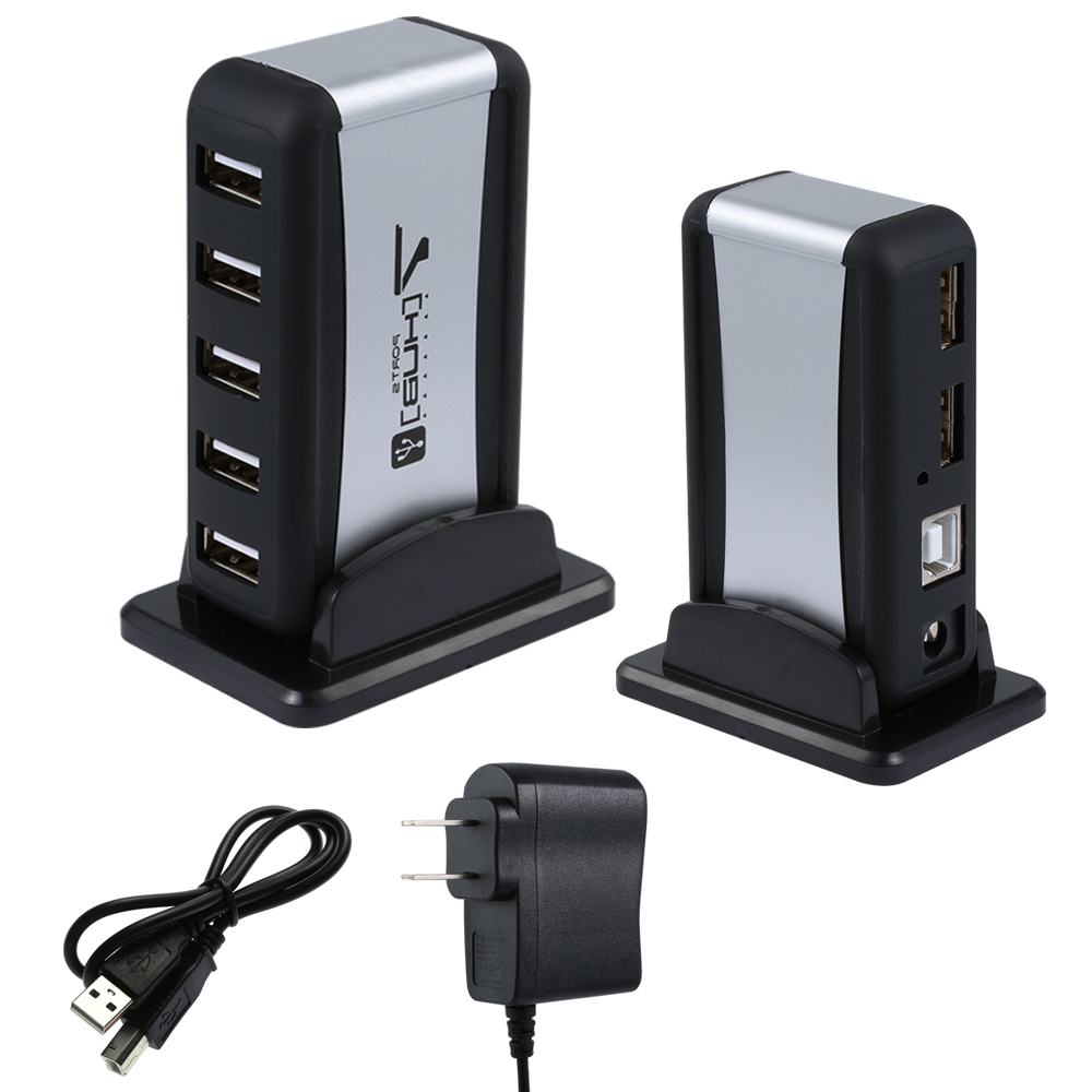 7 Port High Speed USB 2.0 HUB with AC Power Adapter for PC Laptop Durable