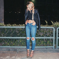 summer pants 2015 autumn Women's summer style party Jeans Mid cargo pants full length plaid skinny women Jeans