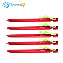 check price 10 pcs ShineTrip 15cm Hot Wheels Shape Triangular Tent Nail Aluminium Alloy Stake with Rope Camping Equipment Tent Building Sale Best Quality