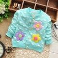Otoño Spring lindas niñas bebés escudo flor Cardigan outwear, los niños los niños infantiles de la muchacha Tops chaqueta S0672