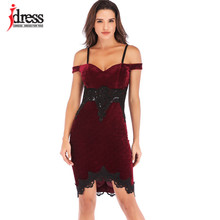 809274036eeff IDress Bordo/Siyah Kadın Akşam Parti Elbise Seksi Bayanlar Dantel Patchwork  Kadife Kapalı Omuz Askısı Elbiseler Vestidos Elbise