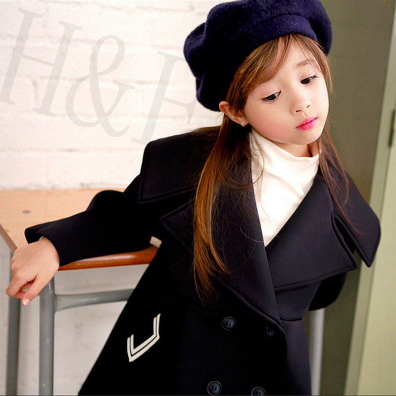 2017 Girls Winter Coat Korean Style Double-Breasted Turn-Down Collar Black Coat Long Sleeve Children Clothing for 7-12 Years korean new style fur collar double breasted casual coat for men