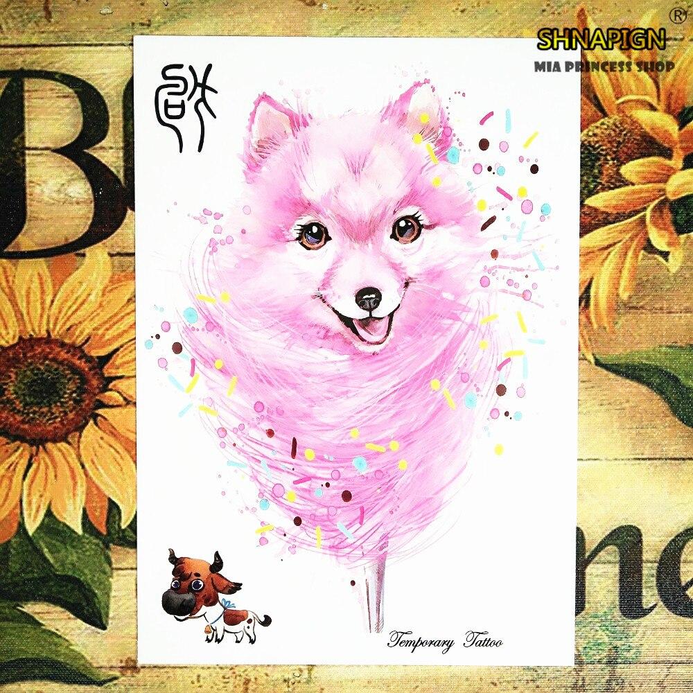 Rosa Hund Chinese New Year 12 Tierkreistiere Temporary Body Art, Flash Tattoo Aufkleber 21*15 Cm Wasserdichte Henna Tato Sex Produkte Online Rabatt