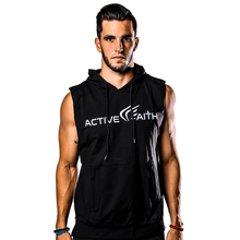 Rashgard Men Running Hooded Sleeveless T Shirt Sportswear Fitness Gym Workout