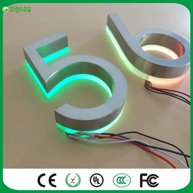 Personalizado restaurante quartos RGBW luz LED iluminado aço inoxidável números de casa
