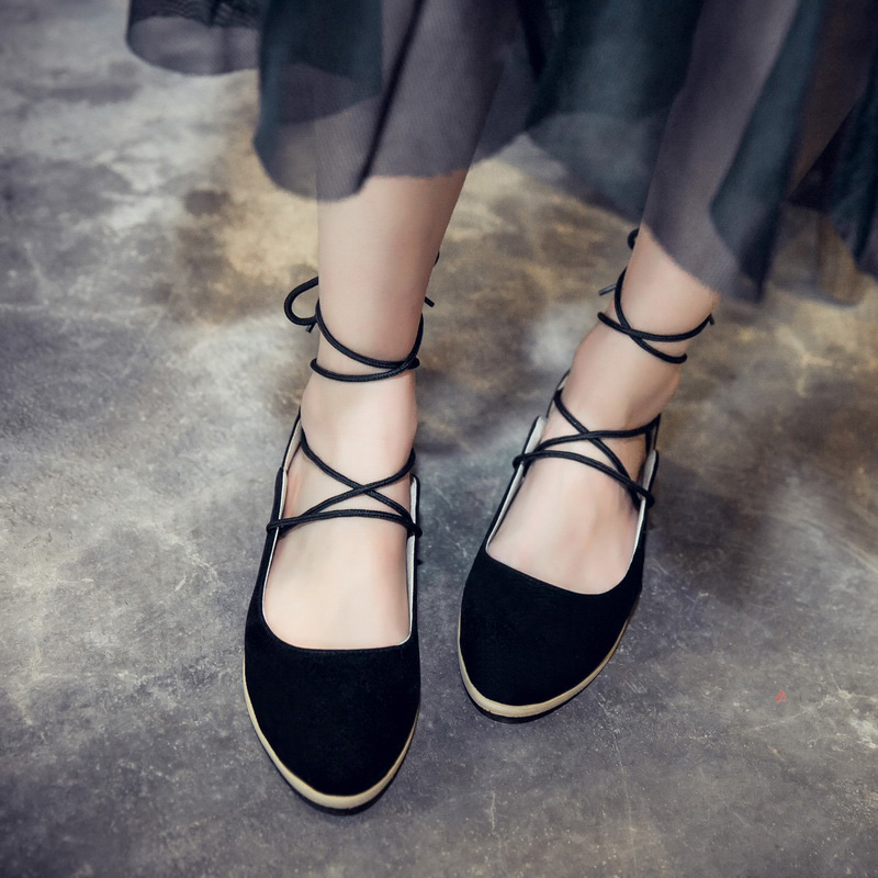 cc3cba10e6a320 Aliexpress.com   Buy Women Ballet Flat Shoes Pointy Toe Suede Lace Up Sweet  Girls Strappy ballerina Flats genuine leather moccasins shoes Black Beige  from ...