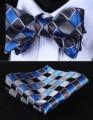 Pocket Square Classic Party Wedding BC807B Blue Gray Check Bowtie Men Silk Self Bow Tie handkerchief set