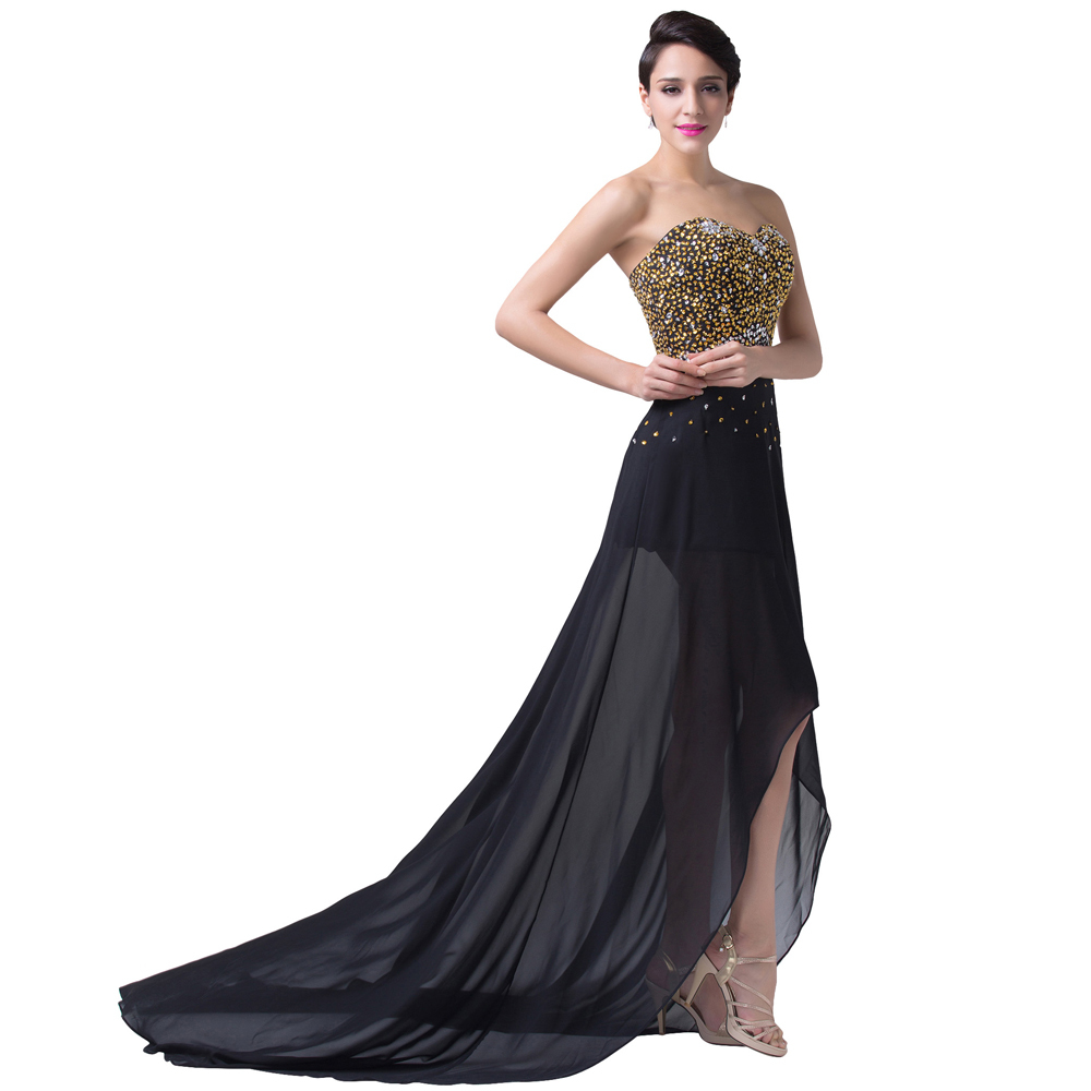 High Low Design Grace Karin Long Sexy Elegant Evening Dresses Formal Black  Dinner Gown Sequins Beading Prom Party Chiffon CL6254-in Evening Dresses  from ... 9203ccf83ba0
